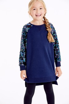 Sequin Sleeve Jumper Dress (3-16yrs)