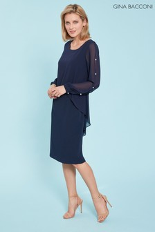 Gina Bacconi Blue Anushka Chiffon Cape Dress