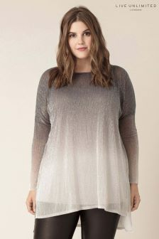 Live Unlimited Silver Plisse Ombre Top