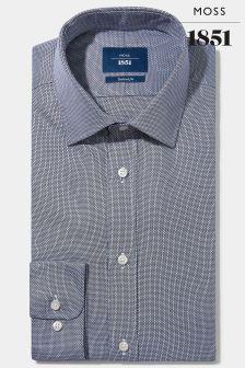 Moss 1851 Tailored Navy Cuff Egyptian Cotton Textured Shirt
