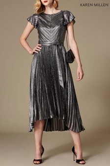 Karen Millen Silver Linear Metallic Dress