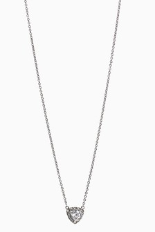 Platinum Plated Stone Detail Necklace