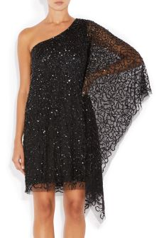 Adrianna Papell Black Beaded Short Kaftan