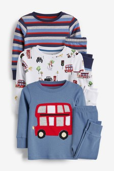 3 Pack London Bus Snuggle Pyjamas (9mths-12yrs)