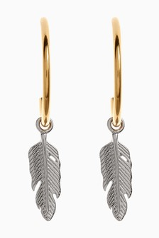 Sterling Silver Feather Hoop Drop Earrings