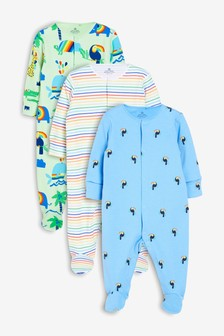 Toucan Animal Sleepsuits Three Pack (0mths-2yrs)