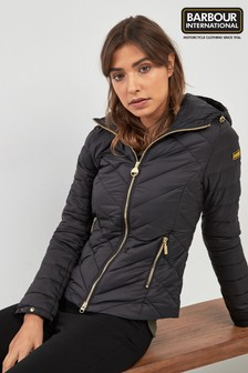 Barbour® International Black Hooded Durant Quilt Jacket