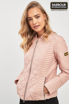 Barbour® International Pink Lightweight Biker Quilt Jacket