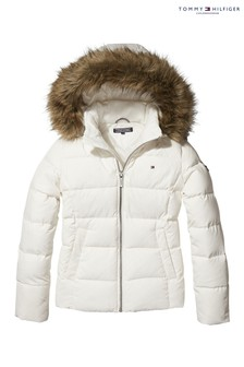 Tommy Hilfiger White Hooded Down Jacket