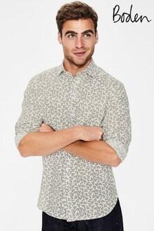 Boden Green Linen Cotton Pattern Shirt