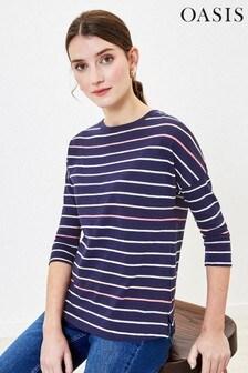 Oasis Blue Stripe Drop Sleeve Top