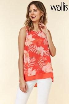 Wallis Orange Petite Floral Palm Split Back Top