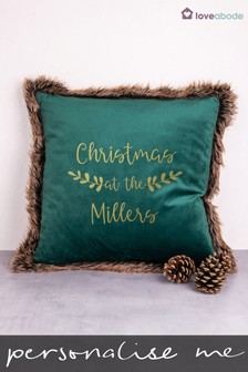 Personalised Green Faux Fur Trim Cushion by Loveabode