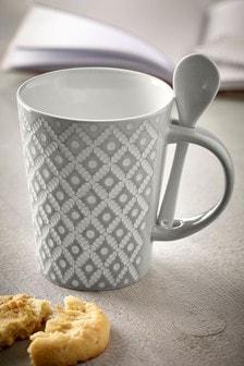 Geo Embossed Mug And Spoon