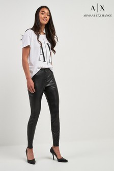 Armani Exchange Black Leather Effect Legging