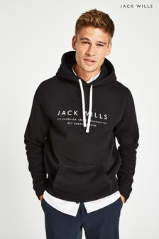 Jack Wills Black Batsford Wills Popover Hoody