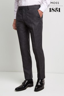 Moss 1851 Performance Tailored Fit Grey Milled Trouser