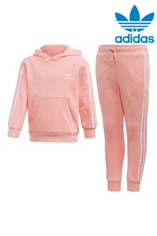 adidas Originals Little Kids Pink Hoody And Jogger Set