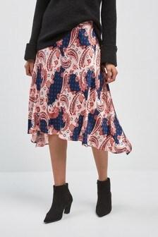 Dip Hem Satin Skirt
