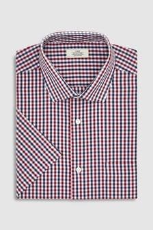 Slim Fit Short Sleeve Gingham Shirt
