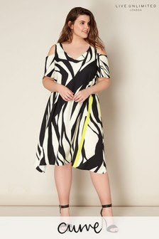 Live Unlimited Zebra Print Satin Back Cold Shoulder Dress