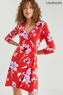 Calvin Klein Red Floral Wrap Dress