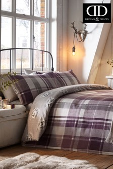 Colville Check Brushed Cotton Duvet Cover and Pillowcase Set by D&D