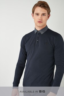 Long Sleeve Woven Collar Polo