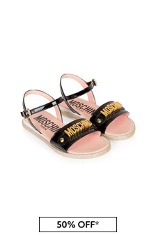 Moschino Kids Girls Black Leather Sandals