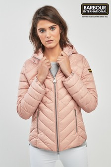 Barbour® International Pink Hooded Durant Quilt Jacket
