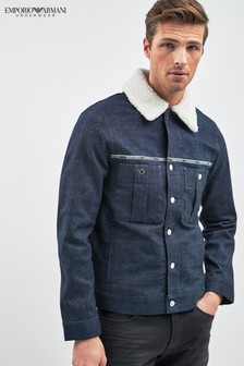 Emporio Armani Denim Sherpa Trucker Jacket