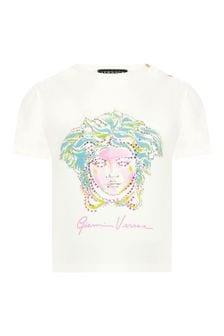 Versace Baby Girls White Cotton T-Shirt