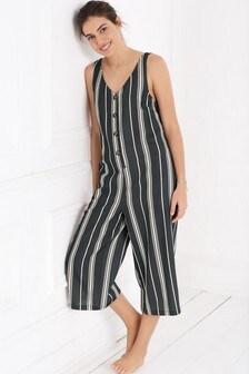 Stripe Linen Blend Jumpsuit