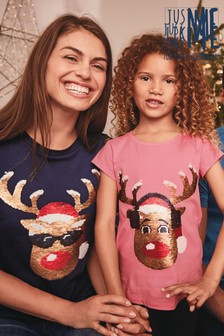 Kids' Matching Family Flippy Sequin Rudolph T-Shirt (3-16yrs)