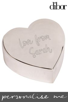 Personalised Silver Plated Love Heart Trinket Box Jewellery Box by Dibor