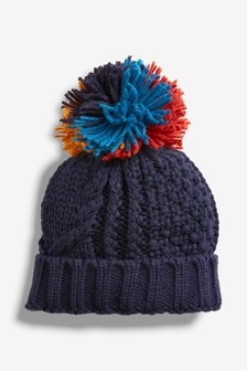 Multi Pom Beanie Hat (Younger)