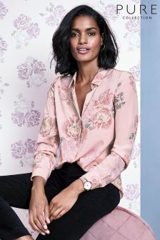 Pure Collection Pink Relaxed Washed Silk Blouse