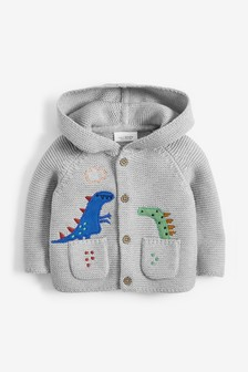 Soft Cotton Hooded Dinosaur Cardigan (0mths-2yrs)