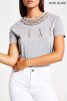 River Island Grey Print Short Sleeve Luxe Necklace Trim T-Shirt