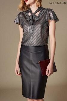Karen Millen Silver Linear Metallic Blouse
