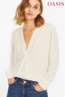 Oasis White Twist Front Drape Top
