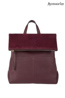 Accessorize Burgundy Lydia Leather Backpack