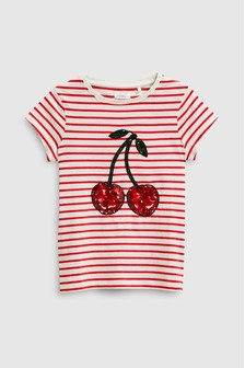 Stripe Sequin Cherry T-Shirt (3-16yrs)