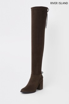 River Island Brown Tie Boot
