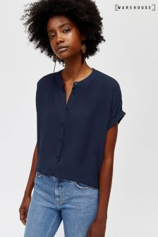 Warehouse Navy Ruched Detail Blouse