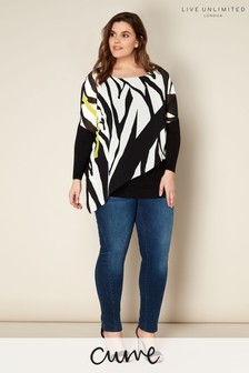Live Unlimited Zebra/Lime Print Top