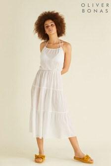 Oliver Bonas White Stripe Sunset Midi Beach Dress