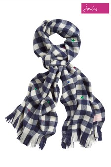 Joules Blue Bracken Luxe Brushed Scarf
