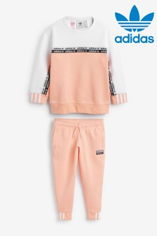 adidas Originals Little Kids Pink/White RYV Crew And Jogger Set