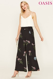Oasis Black Natural History Museum Dahlia Wide Leg Trouser